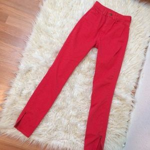 American Apparel red high waisted skinny jeans 24